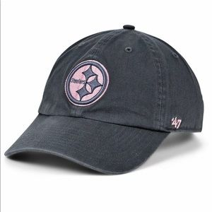 Steelers 47 NFL Women's Charcoal/Pink Clean Up Cap